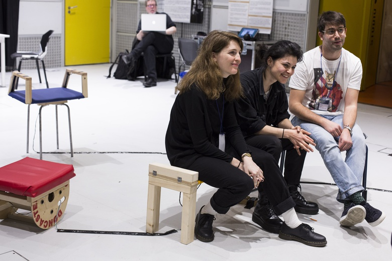 Zohar, Alexia & Arman, students from the Royal College of Arts  © Sébastien Calvet