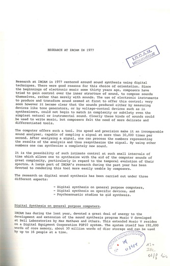 Rapports Ircam 1/78 Research at IRCAM in 1977 Gerald Bennett
